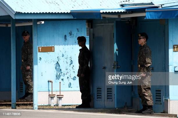 South Korean soldiers patrol at the truce village of Panmunjom inside the demilitarized zone separating the South and North Korea on May 01 2019 in...