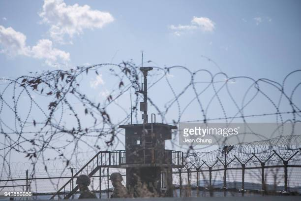 South Korean soldiers patrol next to the army post in the fortified Demilitarised Zone on April 7 2018 in Paju South Korea On April 27 South Korean...