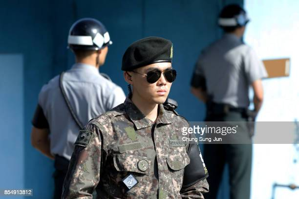 South Korean soldiers stand guard at the border village of Panmunjom between South and North Korea at the Demilitarized Zone on September 28 2017 in...