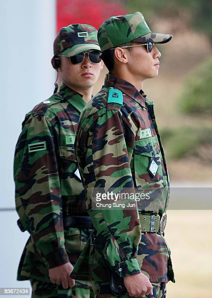 South Korean soldiers stands guard near the South side of the border in the village of Panmunjom between South and North Korea in the demilitarized...