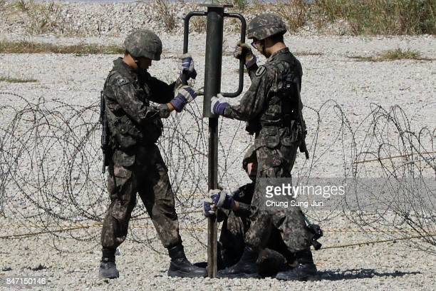 South Korean soldiers take part in military exercise at Imjingak near the demilitarized zone of Panmunjom on September 15 2017 in Paju South Korea...
