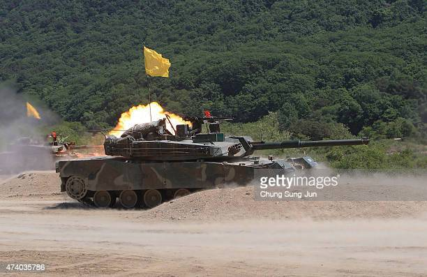South Korean soldiers take part in the military exercise on May 20 2015 in Cheorwongun South Korea The 8th Infantry Division of South Korean Army at...