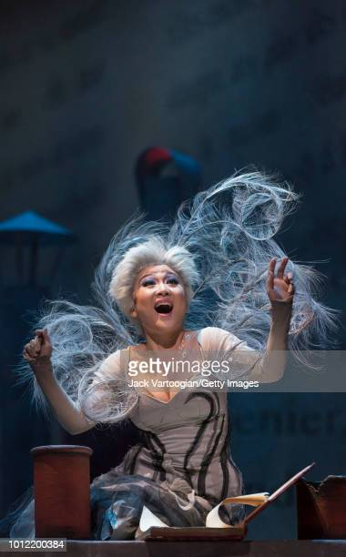 South Korean soprano Kathleen Kim performs at the final dress rehearsal prior to the Metropolitan Opera premiere of Laurent Pelly's production of...