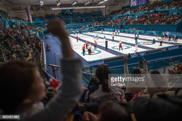 South Korean spectators cheer as a point is scored during the Men's Round Robin Session 9 match between Republic of Korea and Italy on day 10 of the...