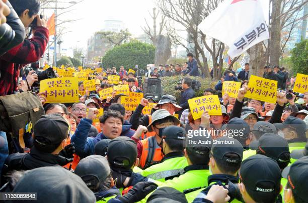 South Korean stages an anti-Japanese rally at the statue of forced labour in front of the Japanese Consulate on the 100th Independence Movement...