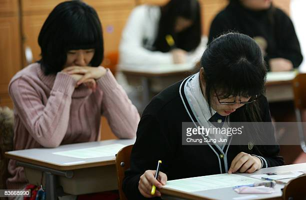 South Korean students take their College Scholastic Ability Test at a school on November 13 2008 in Seoul South Korea More than 580000 high school...