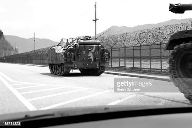 CONTENT] South Korean tank or armored personnel carrier on the island of Ganghwado near the border between North and South Korea