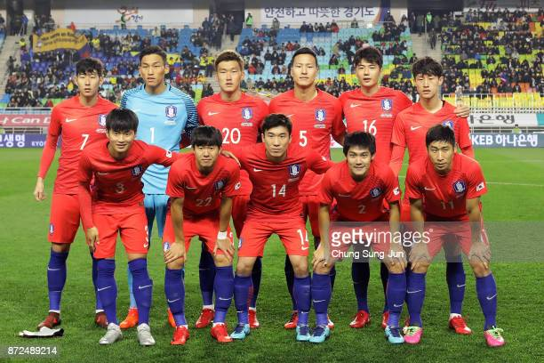 South Korean team pose during the international friendly match between South Korea and Colombia at Suwon World Cup Stadium on November 10 2017 in...