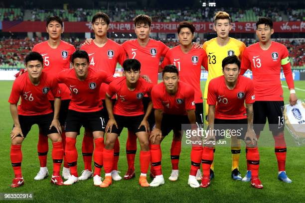 South Korean team pose during the international friendly match between South Korea and Honduras at Daegu World Cup Stadium on May 28 2018 in Daegu...