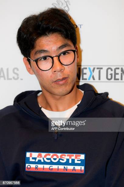South Korean tennis player Chung Hyeon is pictured on November 6 2017 in Milan during the Media day prior to the first edition of the Next Generation...