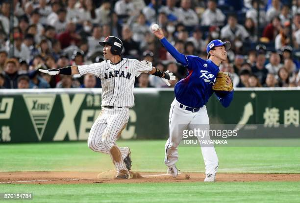 South Korean third baseman Jung Hyun throws the ball towards first base to get the double at the second inning during the Asia Professional Baseball...