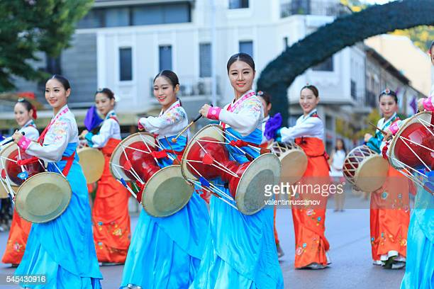 South Korean traditional musicians participating in festival's parade