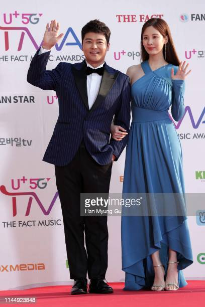 South Korean TV personality Jun Hyun-Moo and Seohyun of South Korean girl group Girls' Generation attend the photocall for U Plus 5G 'The Fact Music...