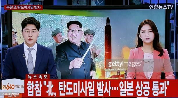 South Korean TV reports on Aug 29 on the launch of a North Korean ballistic missile that fell into the Pacific Ocean off Japan's northernmost main...