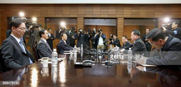 South Korean Unification Minister Cho Myoung Gyon and Ri Son Gwon chairman of North Korea's Committee for the Peaceful Reunification of the Country...