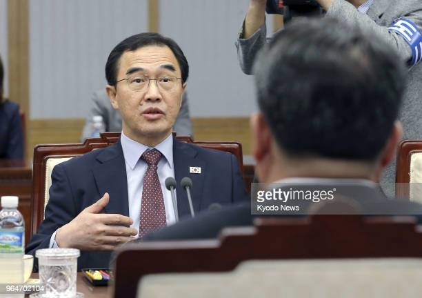 South Korean Unification Minister Cho Myoung Gyon attends a meeting with Ri Son Gwon chairman of North Korea's Committee for the Peaceful...