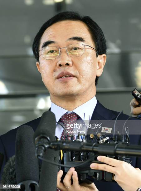 South Korean Unification Minister Cho Myoung Gyon meets the press in Seoul on June 1 before he leaves for a highlevel meeting with North Korea in the...