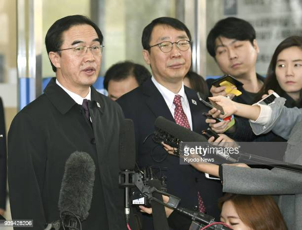 South Korean Unification Minister Cho Myoung Gyon speaks to reporters in Seoul on March 29 before heading to a meeting with North Korean officials at...
