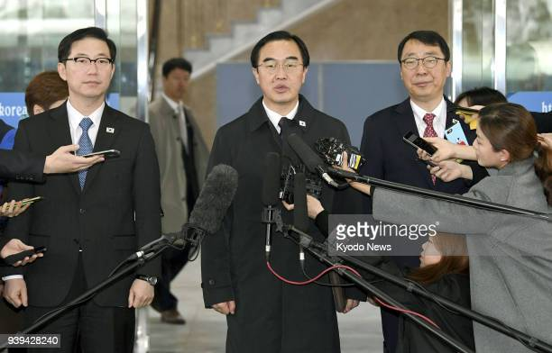 South Korean Unification Minister Cho Myoung Gyon speaks to reporters in Seoul on March 29 before heading to a meeting with North Korean officials to...