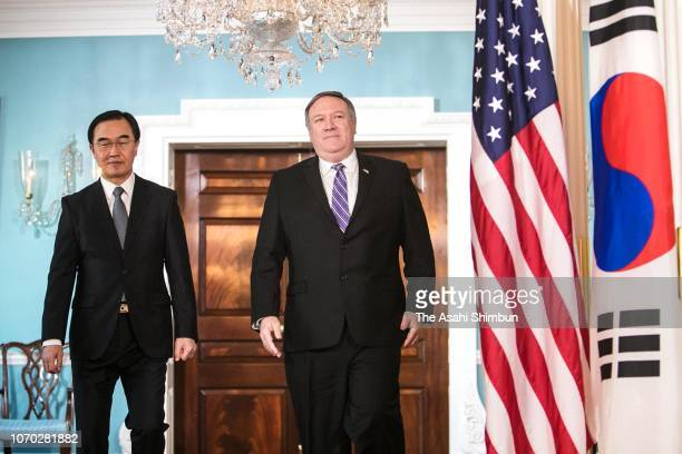 South Korean Unification Minister Cho Myounggyon and US Secretary of State Mike Pompeo are seen prior to their meeting on November 16 2018 in...