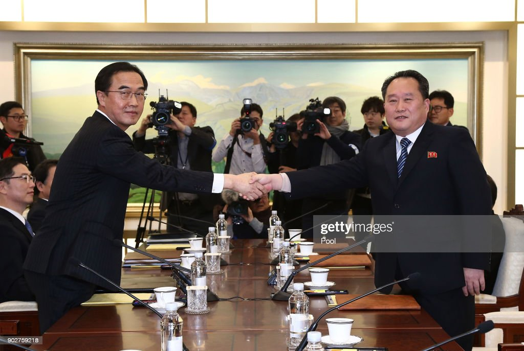 South and North Korea Hold High-level Talks In Panmunjom : News Photo