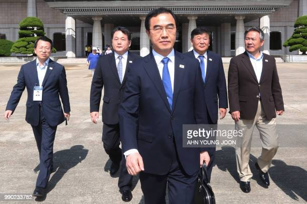 South Korean Unification Minister Cho Myounggyon walks to board a plane to leave for Pyongyang in North Korea to participate in interKorean...