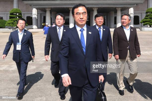 South Korean Unification Minister Cho Myounggyon walks to board a plane to leave for Pyongyang North Korea to participate in interKorean basketball...
