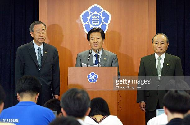 South Korean Unification Minister Chung DongYoung speaks during a press conference to reconfirm South Korea's policy of not developing or possessing...