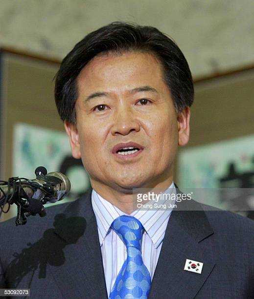 South Korean Unification Minister Chung DongYoung speaks during a press conference at the InterKorean Dialogue office on June 17 2005 in Seoul South...