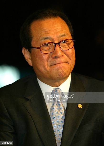 South Korean Unification Minister Chung SeHyun attends a meeting with Lee YoonGu president of South Korean National Red Cross at Plaza hotel on April...