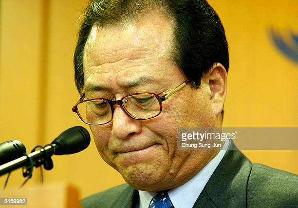 South Korean Unification Minister Chung SeHyun holds a press conference in reaction to North Korea's train explosion on April 23 2004 in Seoul South...