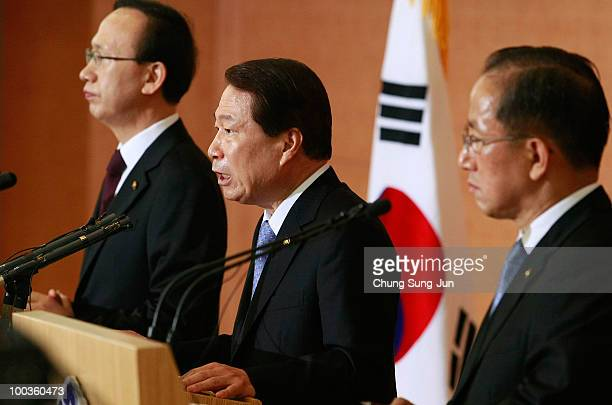 South Korean Unification Minister Hyun InTaek Foreign Minister Yu MyungHwan and Defense Minister Kim TaeYoung talk during the press conference on May...