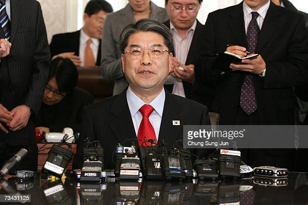 South Korean Unification Minister Lee JaeJeong speaks at a news conference on February 27 2007 in Seoul South Korea Lee spoke before his departure to...