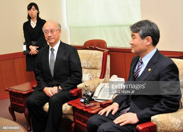 South Korean Vice Foreign Minister Cho TaeYong meets with Japanese Ambassador to South Korea Koro Bessho at the Foreign Ministry in Seoul on April 4...
