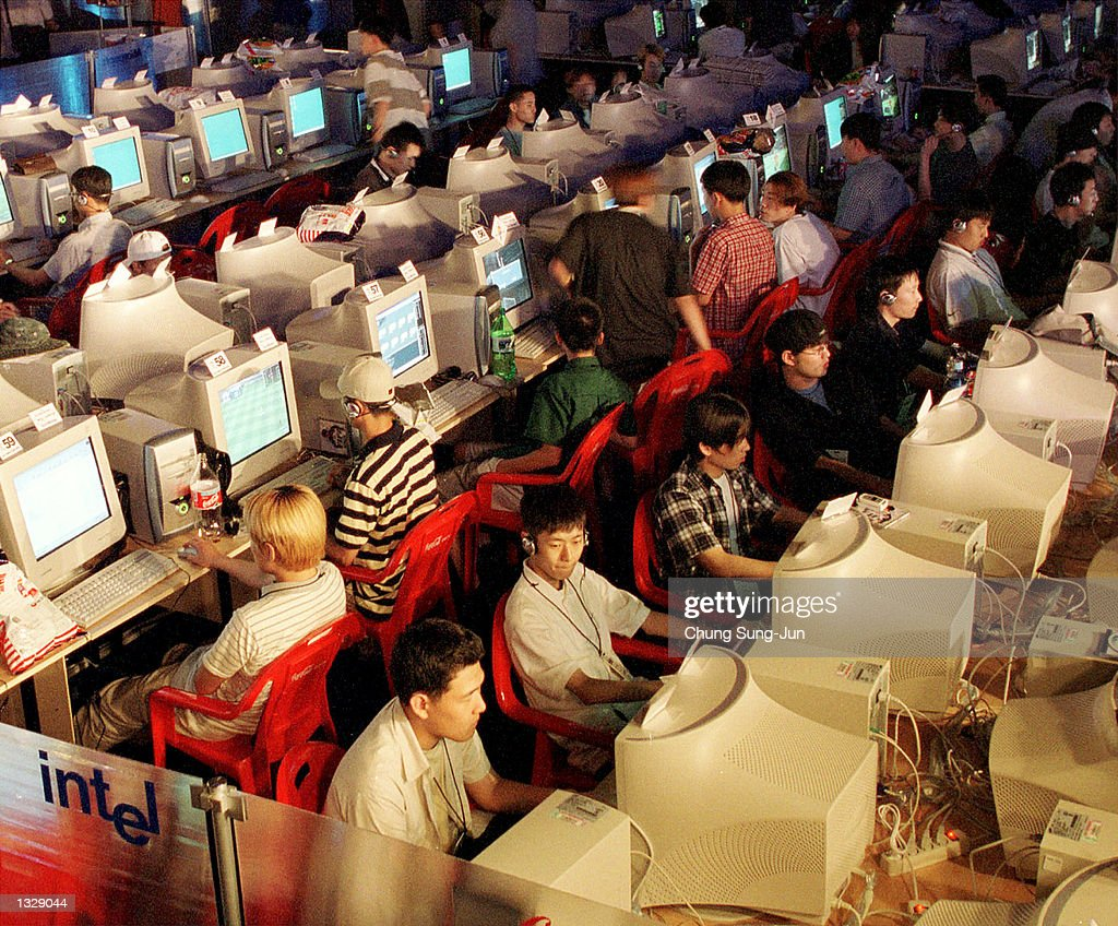 South Korean video gamers compete during the opening day of the World Cyber Games June 30, 2001 at HanYang University in Seoul, South Korea.