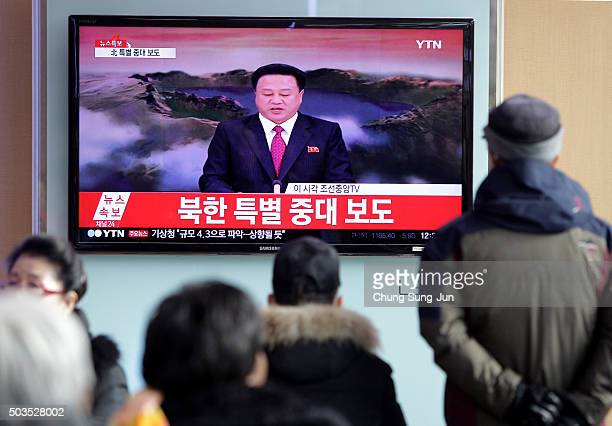 South Korean watch a television broadcast reporting the North Korea's Hydrogen Bomb Test at the Seoul Railway Station on January 6 2016 in Seoul...