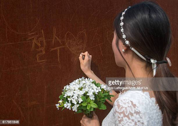 South korean woman called juyeon writing a peace message on the north and south korea border sudogwon paju South Korea on May 31 2016 in Paju South...