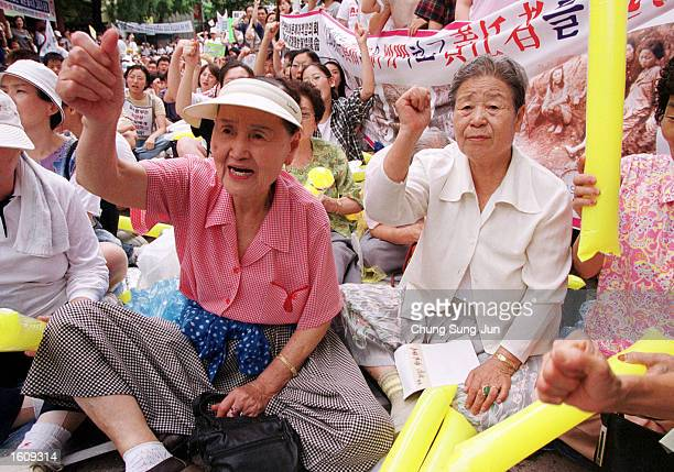 South Korean women forced into sexual slavery by Japanese soldiers during World War II participate in an antiJapanese rally near the Japanese Embassy...