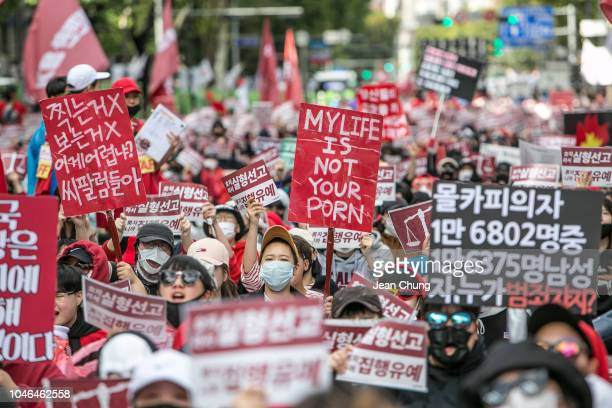 South Korean women protest against sexism and hidden camera pornography on October 6, 2018 in Seoul, South Korea. Thousands of women rallied in South...