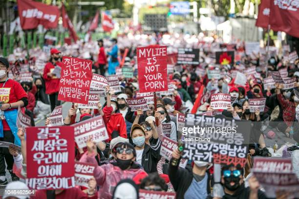 South Korean women protest against sexism and hidden camera pornography on October 6 2018 in Seoul South Korea Thousands of women rallied in South...