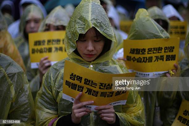 South Koreans attend the second anniversary of Sewol disaster on April 16 2016 in Seoul South Korea On April 16 the Sewol ferry carrying 476...