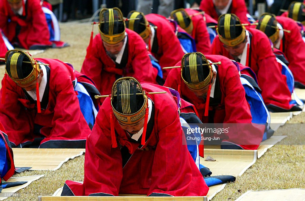 South Koreans performs during an last enthroning ceremony of