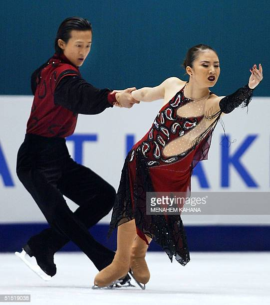 South Koreans TaeHwa Yang and ChuenGun Lee perform their Ice Dancing Original Dance program at the Olympic Ice Center 17 February 2002 during the...