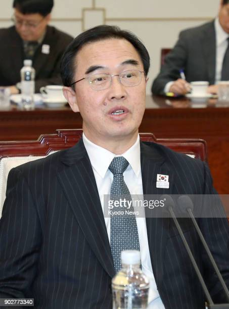 South Korean's Unification Minister Cho Myoung Gyon attends a meeting with North Korean officials in the truce village of Panmunjeom on Jan 9 2018...