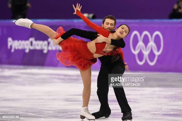 TOPSHOT South Korea's Alexander Gamelin and South Korea's Yura Min compete in the ice dance short dance of the figure skating event during the...