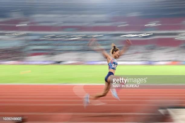 TOPSHOT South Korea's Bae Chanmi competes in the final of the women's triple jump athletics event during the 2018 Asian Games in Jakarta on August 30...
