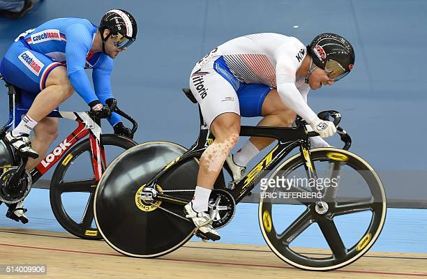 South Korea's Chaebin Im races in the Men's Keirin first round during the 2016 Track Cycling World Championships at the Lee Valley VeloPark in London...