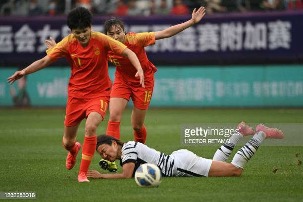South Korea's Cho So-hyun falls while competing for the ball with China's Wang Shanshan and Wang Xiaoxue during the qualifying play-off second leg...