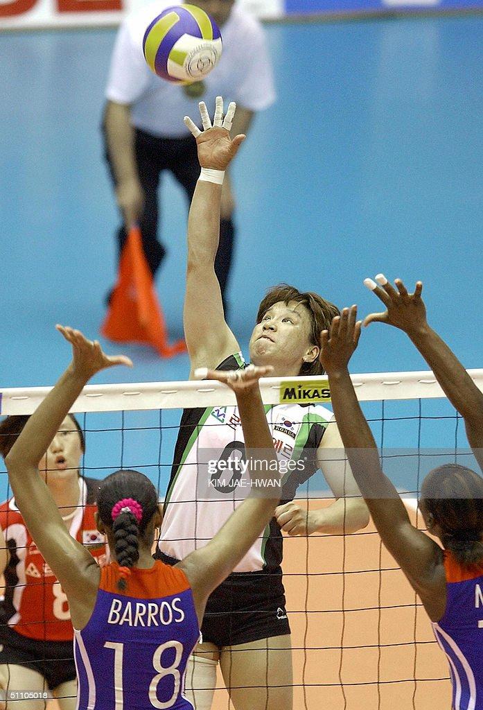 South Korea's Choi Kwang-Hee (#6) spikes : News Photo