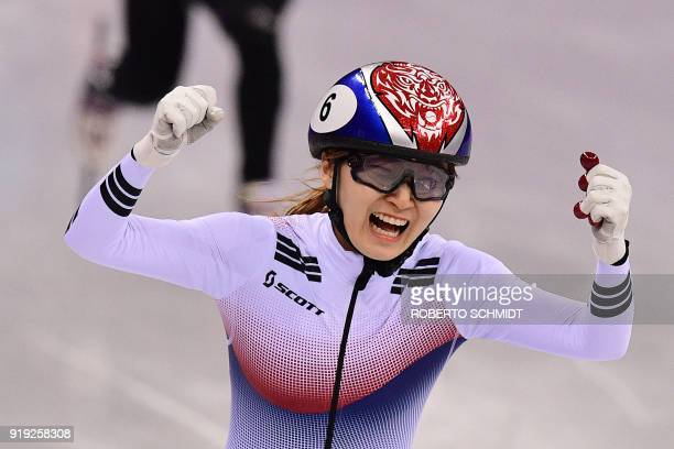 TOPSHOT South Korea's Choi Minjeong celebrates her win in the women's 1500m short track speed skating A final event during the Pyeongchang 2018...